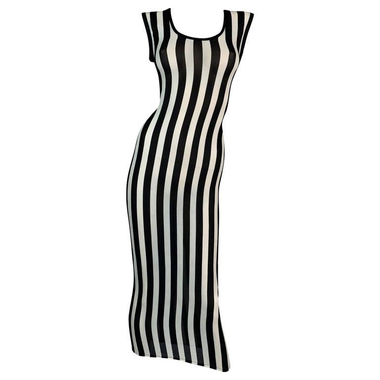 F/W 1993 Gianni Versace Black & White Vertical Stripes Sheer Silk Long Dress For Sale