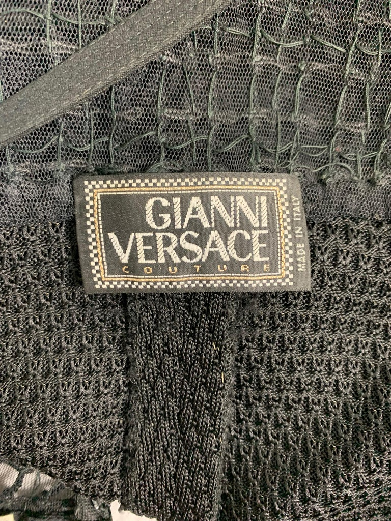 Women's F/W 1993 Gianni Versace Runway Bondage Sheer Black Knit Mesh Lace Gown Dress For Sale