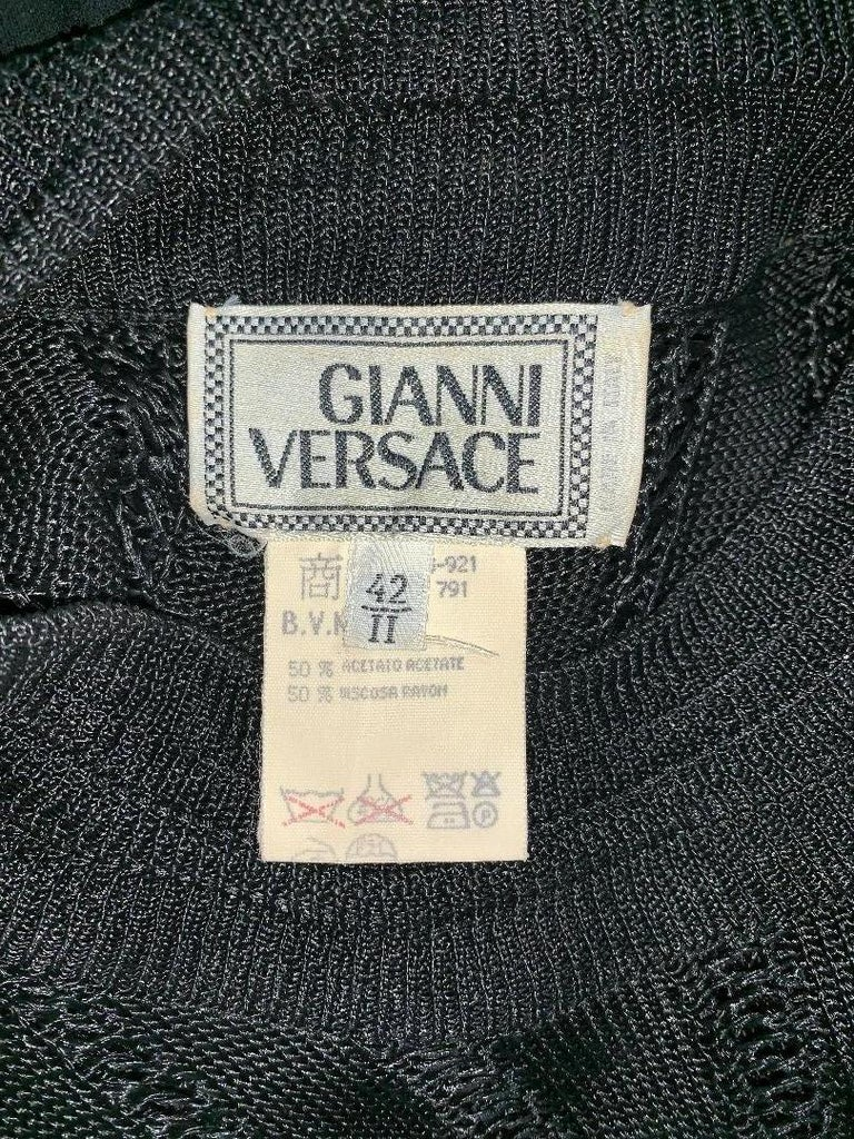 F/W 1993 Gianni Versace Sheer Black Cut-Out Knit & Silk Mini Dress In Good Condition For Sale In Yukon, OK
