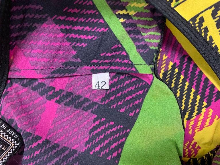 Women's F/W 1993 Gianni Versace Silk Pink Yellow Plaid Long Wiggle Dress For Sale