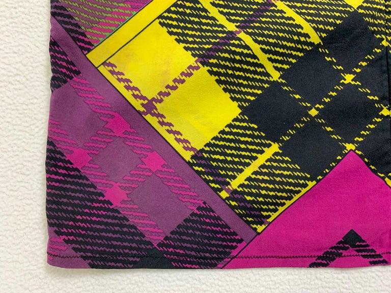 F/W 1993 Gianni Versace Silk Pink Yellow Plaid Long Wiggle Dress For Sale 1