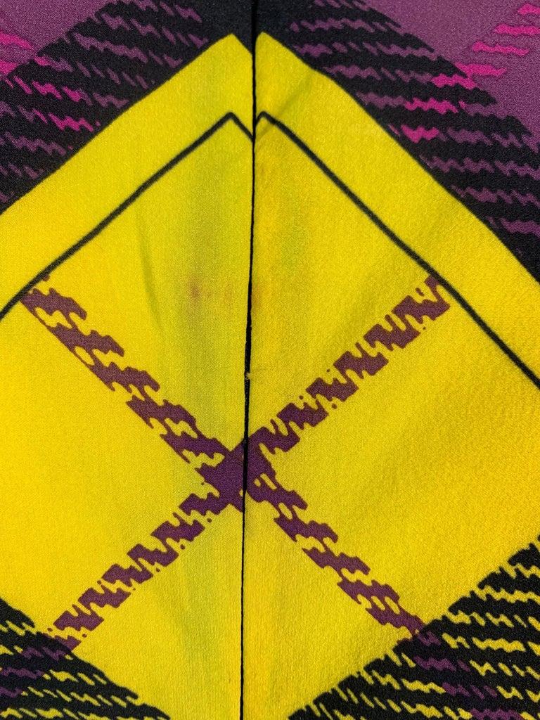 F/W 1993 Gianni Versace Silk Pink Yellow Plaid Long Wiggle Dress For Sale 2