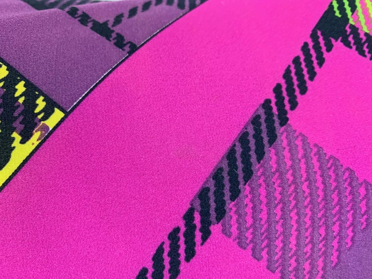 F/W 1993 Gianni Versace Silk Pink Yellow Plaid Long Wiggle Dress For Sale 3