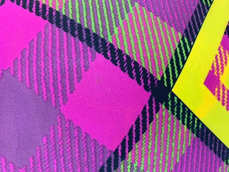 F/W 1993 Gianni Versace Silk Pink Yellow Plaid Long Wiggle Dress For Sale 4