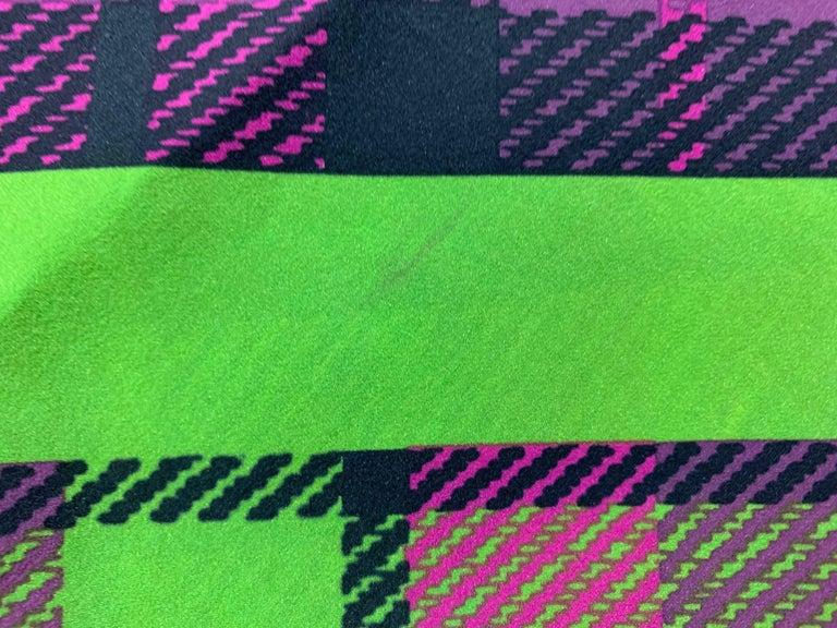 F/W 1993 Gianni Versace Silk Pink Yellow Plaid Long Wiggle Dress For Sale 5