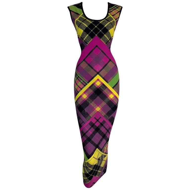 F/W 1993 Gianni Versace Silk Pink Yellow Plaid Long Wiggle Dress For Sale