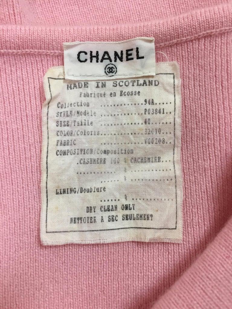 Women's F/W 1994 Chanel Bubblegum Pink Cashmere Logo Jumpsuit Catsuit For Sale