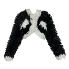 F/W 1994 Chanel Documented Runway Black & White Faux Fur Cropped Jacket