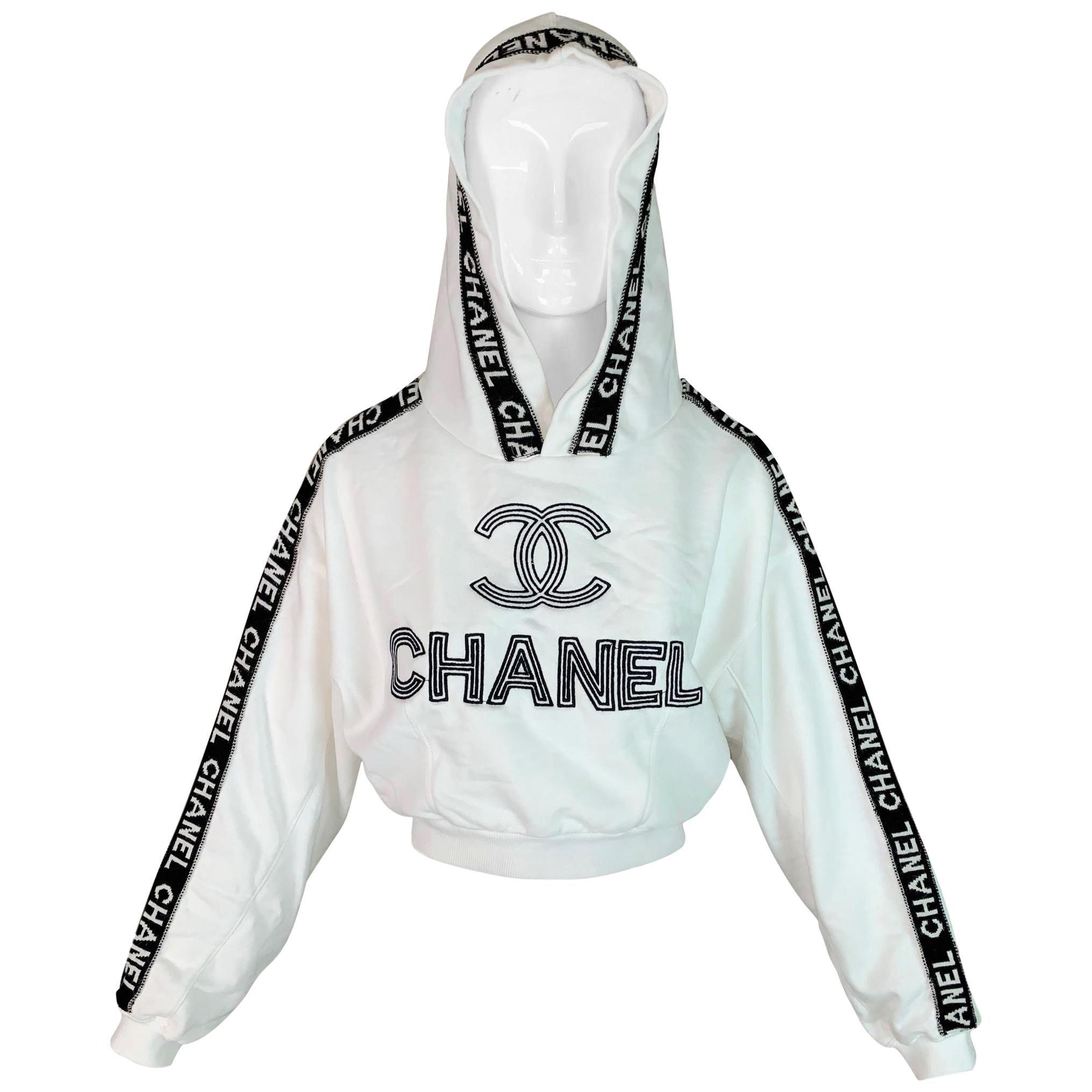 F/W 1994 Chanel White Logo Cropped Hoodie Sweatshirt