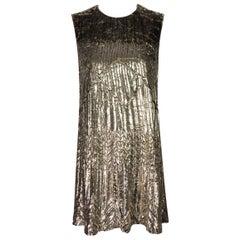 F/W 1994 Gianni Versace Metallic Gold Velvet Lurex MOD Micro Mini Dress