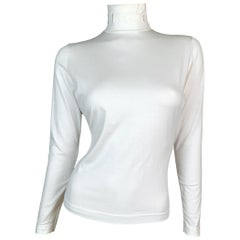F/W 1994 Gucci by Tom Ford Ivory Logo Mock Neck L/S Top