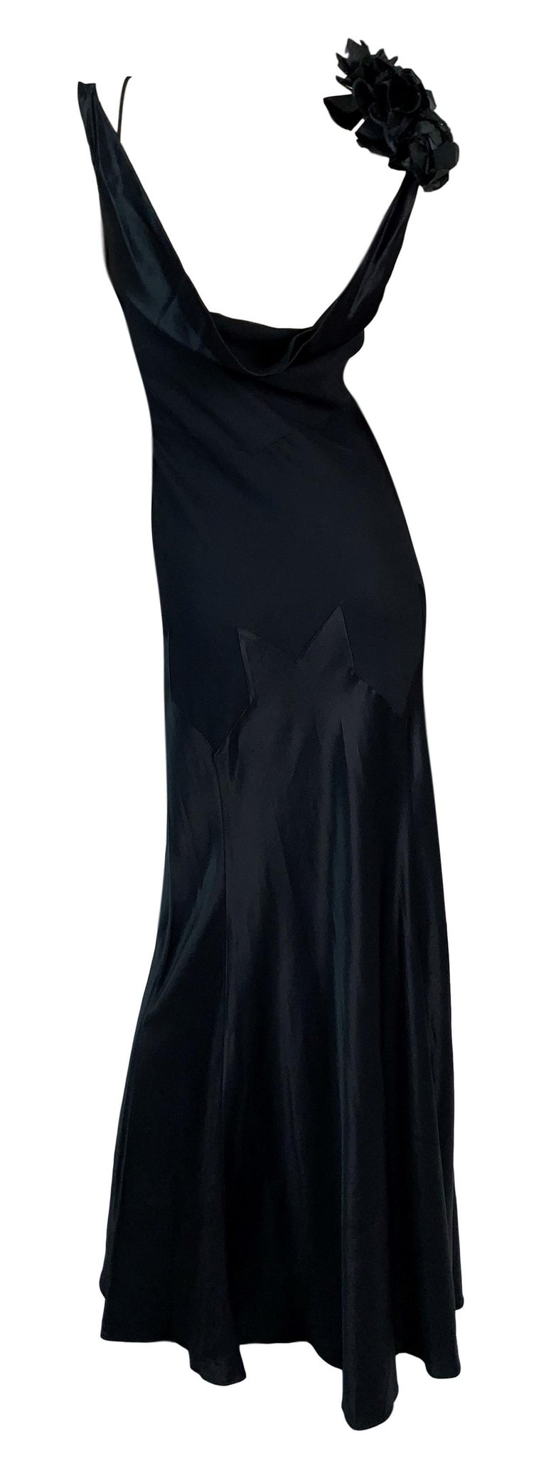 Women's F/W 1994 John Galliano Runway Black Off Shoulder Flower Gown Dress For Sale