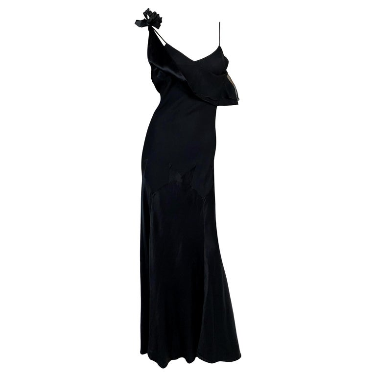 F/W 1994 John Galliano Runway Black Off Shoulder Flower Gown Dress For Sale