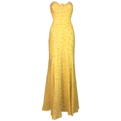 F/W 1995 Documented Gianni Versace Runway Yellow Beaded Strapless Gown Dress