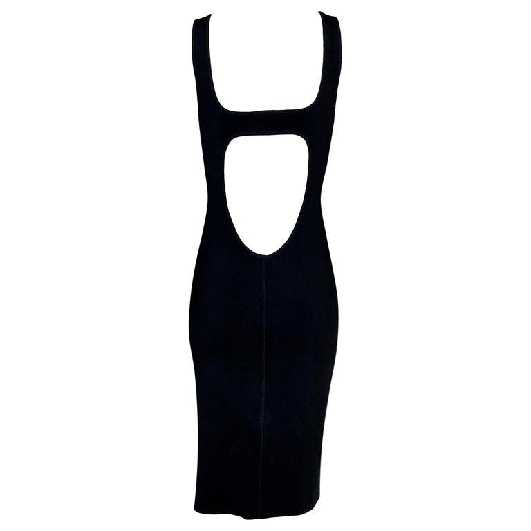 F/W 1995 Gucci by Tom Ford Black Knit Cut-Out Midi Dress For Sale