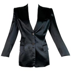 F/W 1995 Gucci by Tom Ford Black Silk Satin Structured Tuxedo Jacket