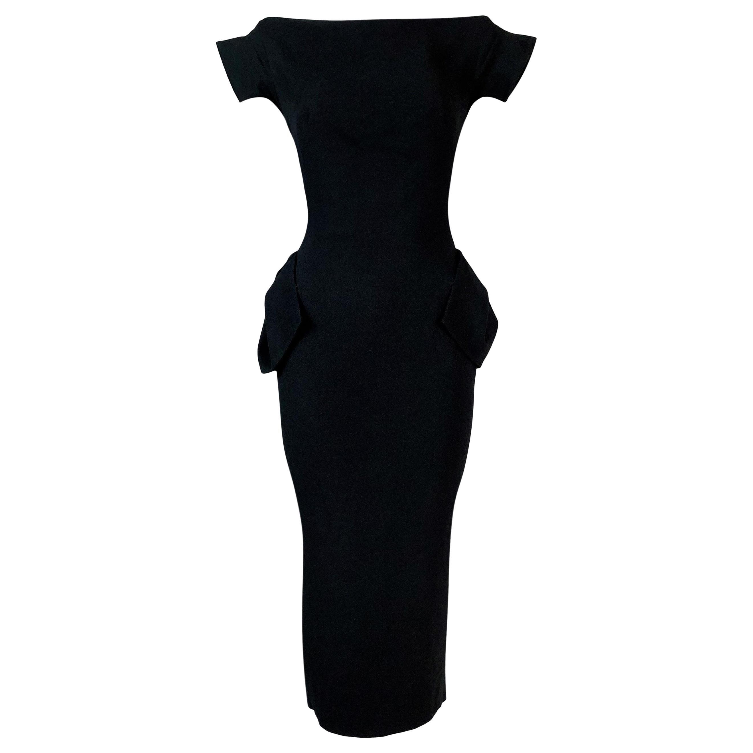 F/W 1995 John Galliano Runway 'Delores' Pin-Up Black Crepe Dress
