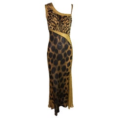 F/W 1996 Atelier Versace by Gianni Runway Sheer Faux Fur Leopard Beaded Gown