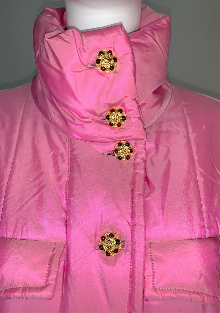 Women's F/W 1996 Chanel Iridescent Pink Logo Gripoix Buttons Long Down Jacket Coat For Sale