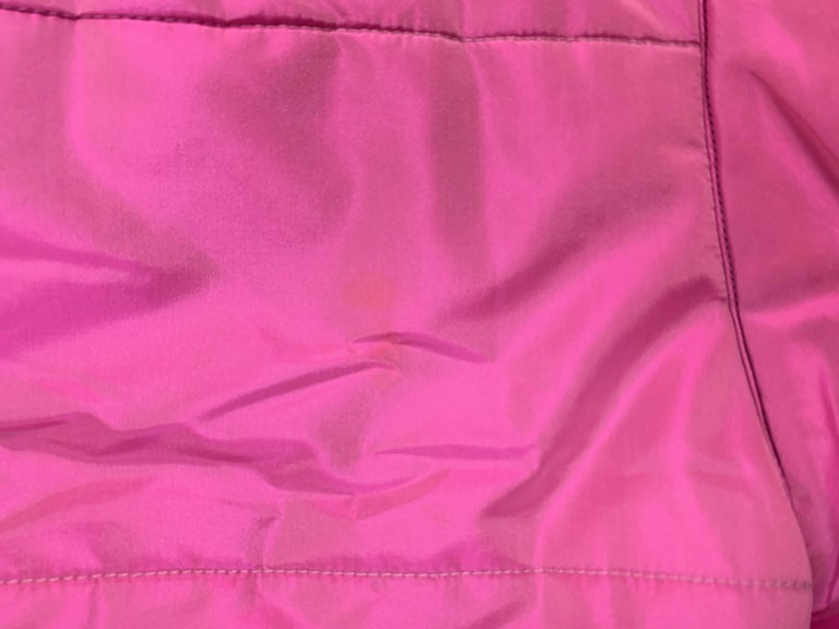 F/W 1996 Chanel Iridescent Pink Logo Gripoix Buttons Long Down Jacket Coat For Sale 2