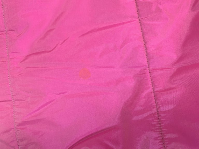 F/W 1996 Chanel Iridescent Pink Logo Gripoix Buttons Long Down Jacket Coat For Sale 3