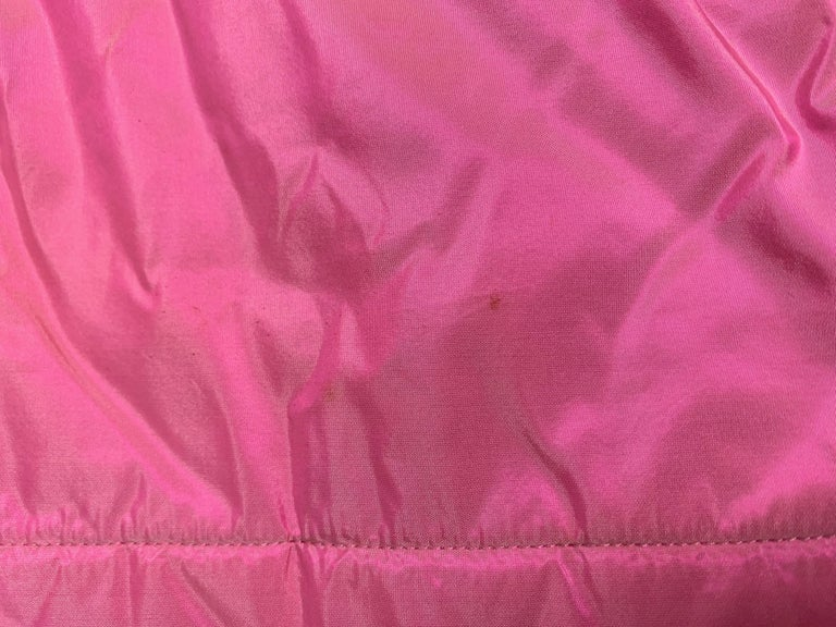 F/W 1996 Chanel Iridescent Pink Logo Gripoix Buttons Long Down Jacket Coat For Sale 4
