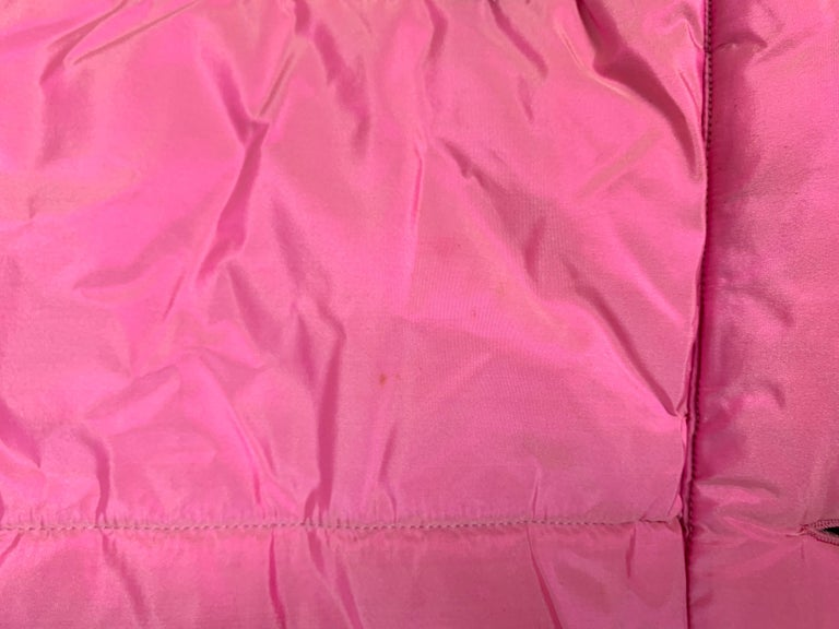 F/W 1996 Chanel Iridescent Pink Logo Gripoix Buttons Long Down Jacket Coat For Sale 5