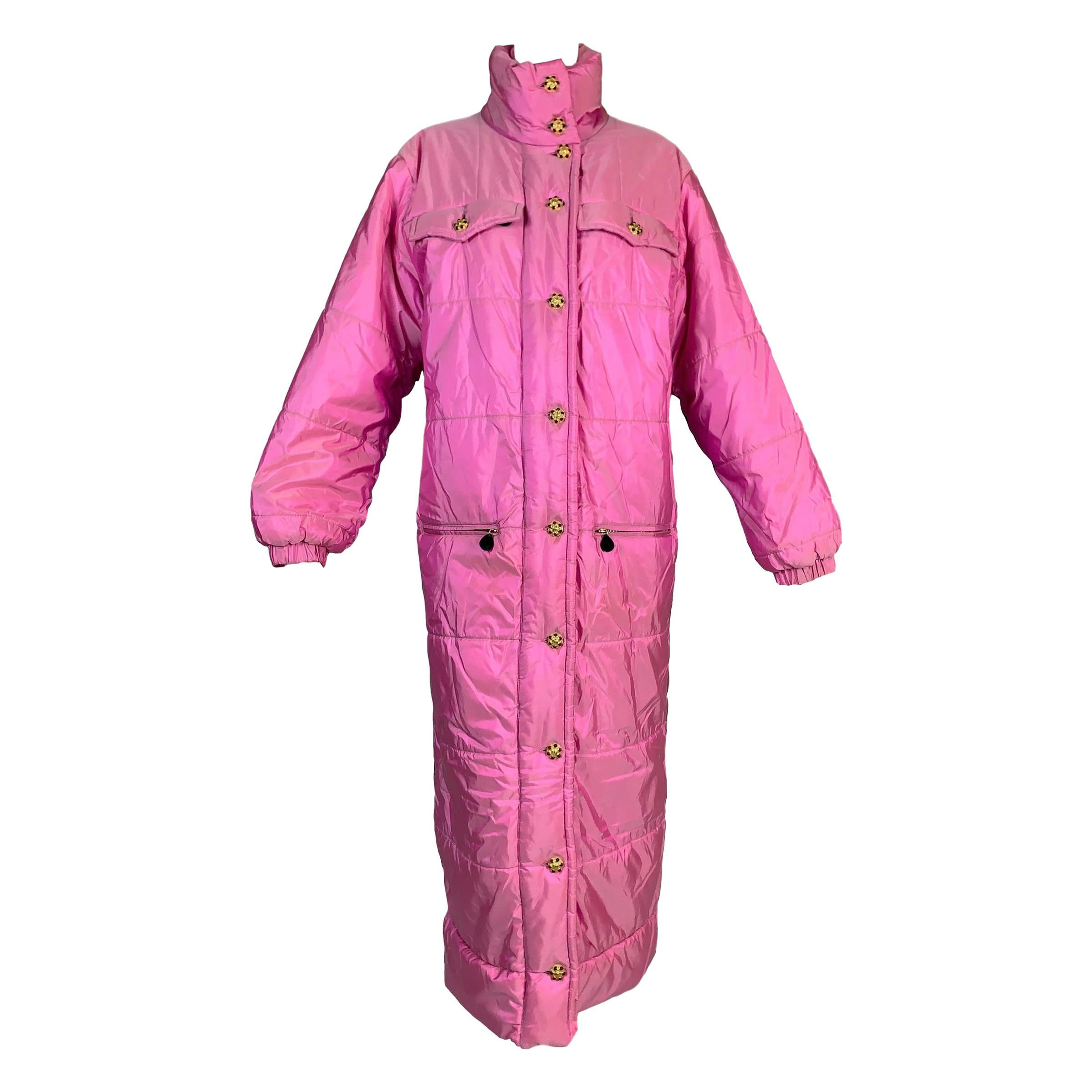 F/W 1996 Chanel Iridescent Pink Logo Gripoix Buttons Long Down Jacket Coat