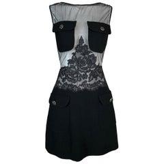 F/W 1996 Gianni Versace Instante Sheer Black Mesh Lace Mini Dress