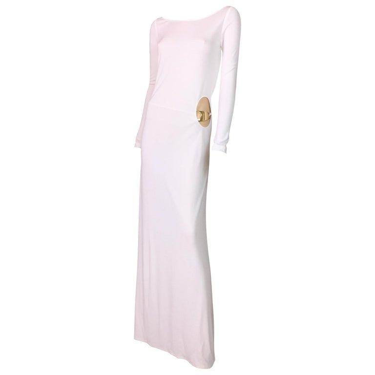 94d73dbd05b F W 1996 Gucci by Tom Ford Runway White Cut-Out L S Gown Dress w ...