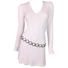 F/W 1996 Gucci by Tom Ford White Mini Dress w/ GG Logo Silver Belt