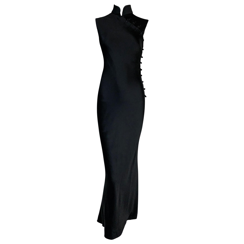 S/S 1999 Christian Dior by John Galliano Black Cheongsam Lace Slit Gown Dress