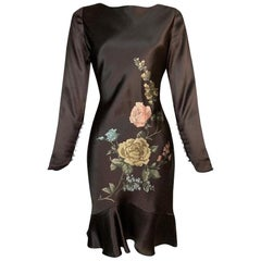 F/W 1997 Christian Dior by John Galliano Brown Satin Floral Mini Dress