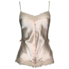 F/W 1997 Christian Dior by John Galliano Peach Satin Lace Bows Cami Top
