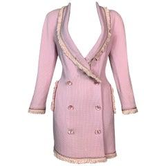 F/W 1997 Christian Dior by John Galliano Runway Pink Fringe Plunging Mini Dress