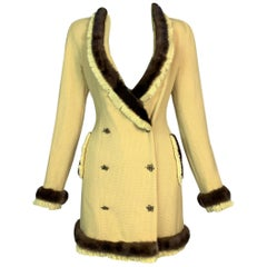 F/W 1997 Christian Dior by John Galliano Runway Yellow Mini Dress w Fur