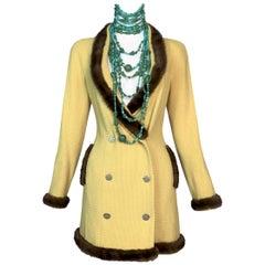 F/W 1997 Christian Dior by John Galliano Runway Yellow Mink Mini Dress 38