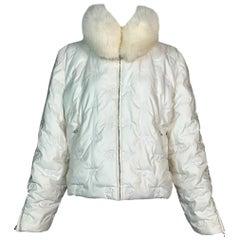 F/W 1997 Christian Dior John Galliano Ivory Logo Monogram Fox Puffer Jacket