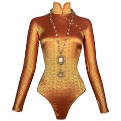 F/W 1997 Christian Dior John Galliano Runway Gold & Pink Bodysuit Top