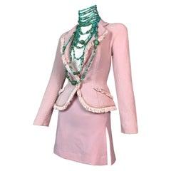 F/W 1997 Christian Dior John Galliano Runway Pink Fringe Jacket & Mini Skirt