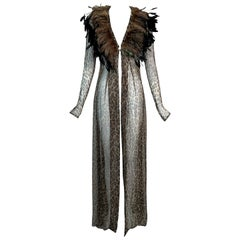 F/W 1997 Dolce & Gabbana Runway Sheer Leopard Silk Cardigan Dress Feather 42
