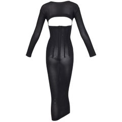 F/W 1997 Dolce & Gabbana Sheer Black Cut-out Corset L/S Wiggle Pin-Up Dress