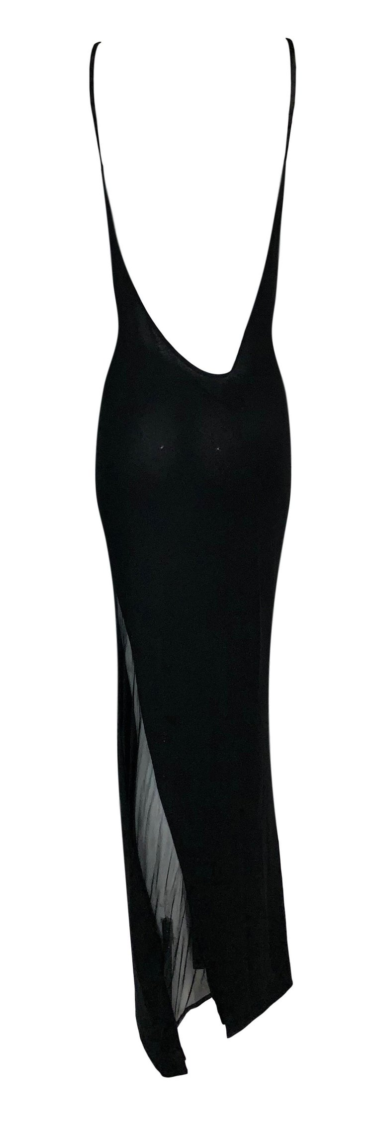 S/S 1998 Gucci by Tom Ford Black Sheer Body Panel Plunging Back Gown Dress In Good Condition For Sale In Yukon, OK