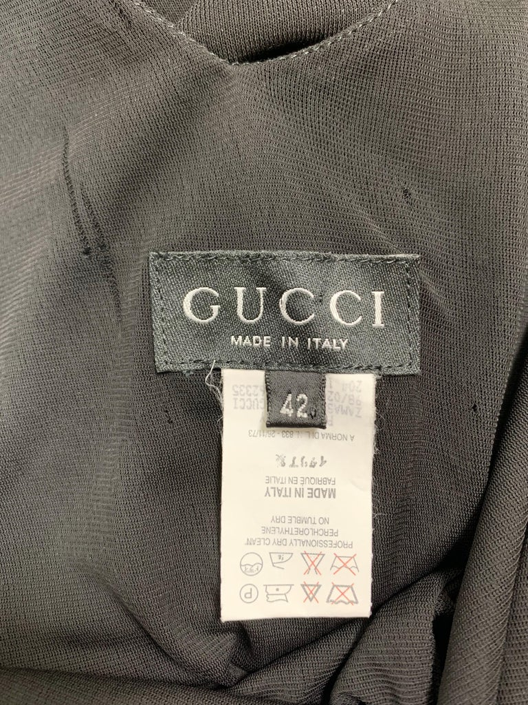 Women's S/S 1998 Gucci by Tom Ford Black Sheer Body Panel Plunging Back Gown Dress For Sale