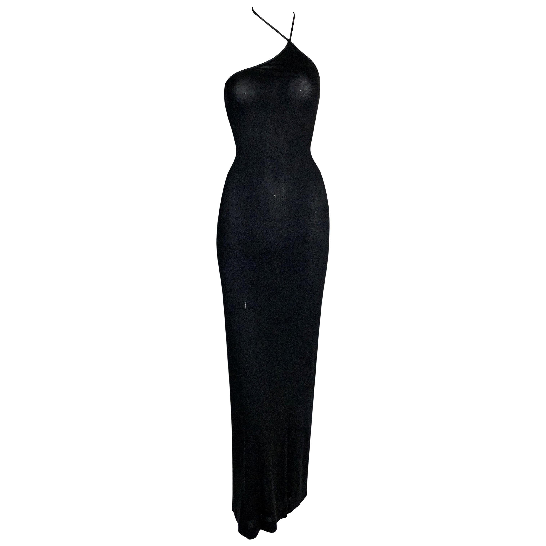F/W 1997 Gucci by Tom Ford Semi-Sheer Asymmetrical Halter Gown Dress