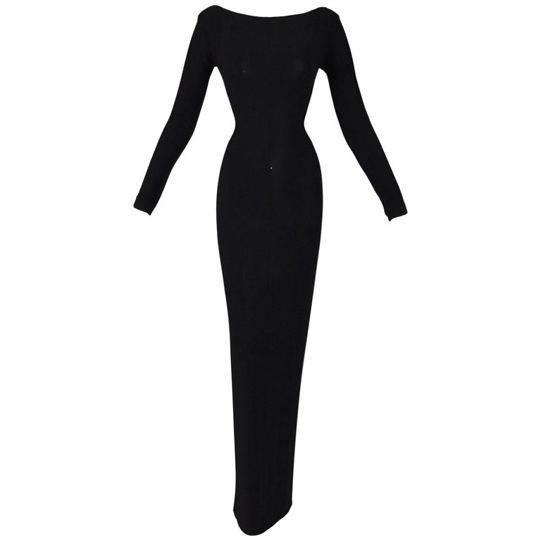 F/W 1997 Gucci Tom Ford Black Bateau Neck Slinky L/S Long Gown Dress For Sale