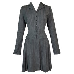 F/W 1997 John Galliano Gray & White Pinstripe School Girl Pleated Skirt Suit