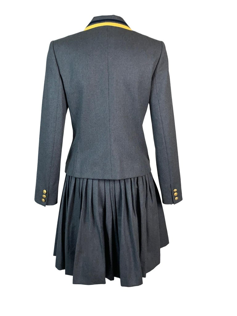 DESIGNER: F/W 1997 John Galliano  Please contact for more information and/or photos.  CONDITION: Good- faint mark at the hem- please see last photo.  FABRIC: Wool- jacket is lined- skirt is not  COUNTRY MADE: France  SIZE: 38  MEASUREMENTS; provided