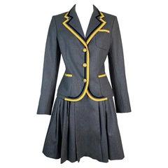 F/W 1997 John Galliano Runway Gray School Girl Mini Skirt Suit