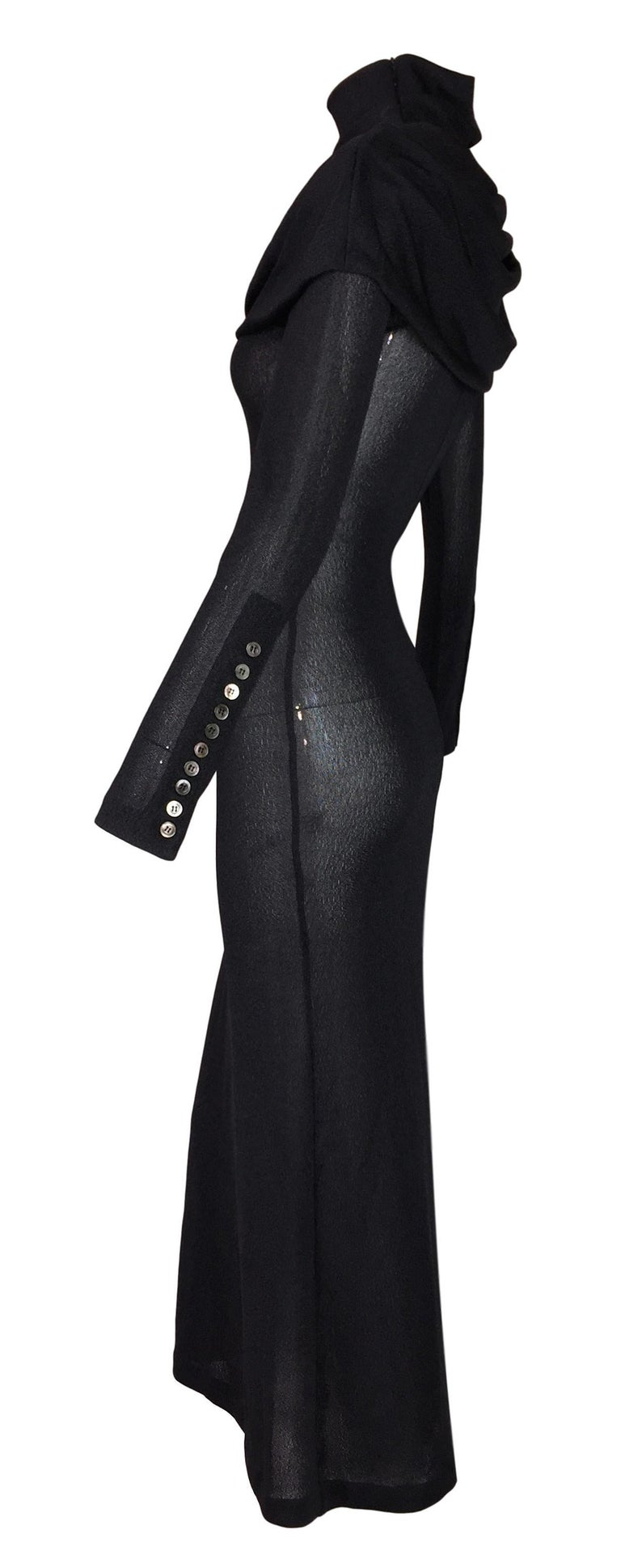 F/W 1998 Alexander McQueen Joan Sheer Black Knit L/S Catholic Gown Dress In Good Condition For Sale In Yukon, OK